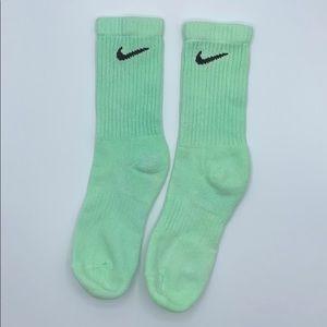 Nike Neon Green Lime Mint Adult Long Swoosh Socks